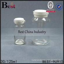 tear pull cap bottle , cosmetic glass bottle clear , 125ml glass bottle, 1-2 free samples