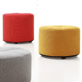 Wooden Frame Fabric Round Footstool Ottoman Pouf