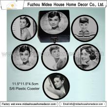 Hot Sale Customzied rodada em branco Plástico Coasters