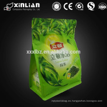 Bolsa de empaquetado de té de gusset lateral de pedido personalizado con cremallera