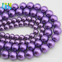 Yiwu jóia da pérola 12mm vidro imitação pérola contas roxo escuro