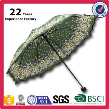 21 Inch Manual Open Myanmar Market Lowest Price 3 Fold Dome Umbrella
