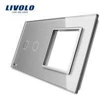 Livolo Luxury Grey Verre Trempé 151mm * 80mm UE Standard 2Gang & 1 Panneau Panneau En Verre À Vendre VL-C7-C2 / SR-15