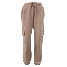 2021 Lady Knitted Cotton Fleece Overalls Long Women Casual Pants With Pockets