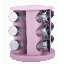 Porta-temperos giratório rosa com 20 potes e garrafas de vidro