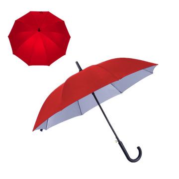 High Quality Auto Open Silver Coat 23 Inch Black Fiber Rib Rainproof UV Protection Straight Umbrellas with Custom Logo Print