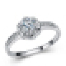 Anillo de diamante con incrustaciones de moda de gama alta de plata esterlina 925 para mujer