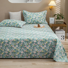 Wholesale Sheet Set Cheap Price Cotton Brushed Fabric Single Green Floral Bed Linen