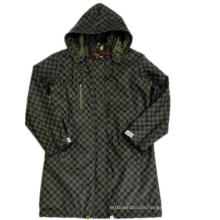 Schwarzer Hooded Check Wasserdichter PU Regenmantel
