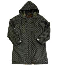 Black Hooded Check Waterproof PU Raincoat