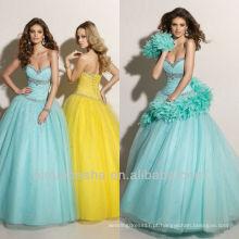 Sky Blue Crystal Neckline Sweep Train Ball Vestido Quinceanera Vestido Dressing