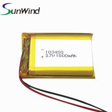 Célula de bateria de polímero de lítio customizada 3.7v 103450 1800mah