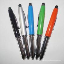 Стилус шариковая ручка с фонарик и красный лазер