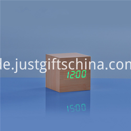 Promotional LED Wooden Square Desk Clock 4