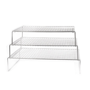 Fashionable and nice 3-layer stackable cooling rack stainless steel grid wire cake rack for pie biscuit pizza cooling rack