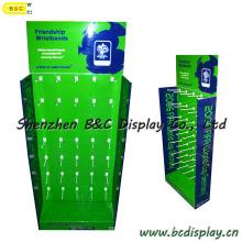 Affichage de bruit de plancher de comptoir, affichage de papier ondulé avec des crochets, présentoir, affichage en carton (B & C-B032)