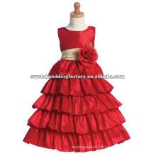 Vente chaude robe rouge à billes ondulée appliqued étagée sur mesure vraie bouquet de figurines fleur de fille CWFaf4776