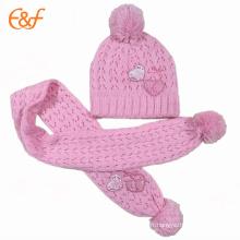 2017 Mode Bébé Fille Rose Drôle Tricot Chapeau Et Écharpe
