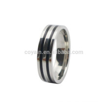 2 Black Enamel Lines Stainless Steel Boys Finger Rings