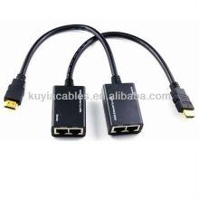 Câble extensseur HDMI Extender HDMI sur Cat5e / 6 Câble HDMI Extender avec cochon, Tx + Rx / unité, jusqu'à 30m1080p