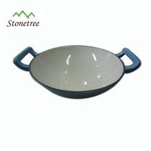 Bandeja de wok de ferro fundido oval grande revestimento de esmalte azul