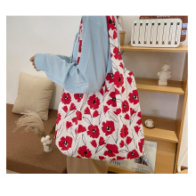 Stock Korean style foldable tote bag COTTON&LINEN material printed eco friendly shoulder shopping bag