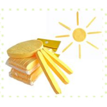 Esponja comprimida de limpeza facial amarela / esponja esponja de celulose natural