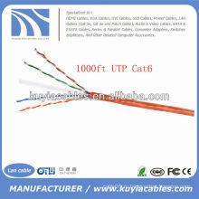 Оранжевый 1000FT 4pairs Cat6 сетевой кабель UTP