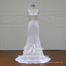 Ver a través de sexy vestido de novia de imagen vestido de novia de seda con tela de crepé de alta calidad