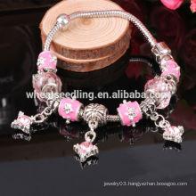 Yiwu Jewelry 925 Sliver European Charm Bracelet, DIY Crystal Bead Bracelet, Glass Charm beads for jewellery making