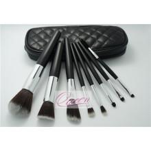 PU Bag Black Synthetic Cosmetic Makeup Brush Set 8 Pièces