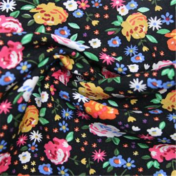 Robe à fleurs à manches courtes avec tissu uni en rayonne