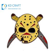 Creative design custom metal soft enamel nickel plating lighted horror movie knife lapel pin with back sandblasting