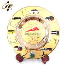 Souvenir engraved gold metal logo plaque plate with enamel