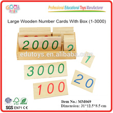 Montessori Large Wooden Number Cards With Box (1-3000)