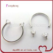 Nova chegada de aço inoxidável anel de ferradura piercing jóias nariz anel