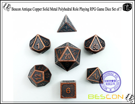 Bescon New Style Antique Copper Solid Metal Polyhedral Role Playing RPG Game Dice Set (7 Die in Pack)-2