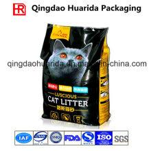 Пластмассовая упаковочная сумка с четырехсторонним уплотнением для кошачьих туалетов