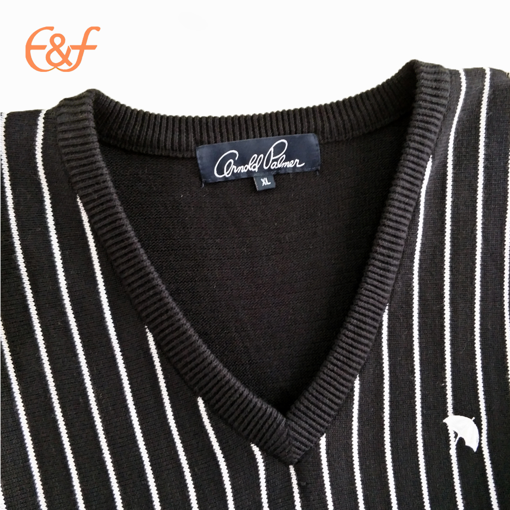V-Neck Vertical Stripe Pattern Vest Sweater