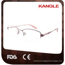 Fashion Half rim Economic basic line metal optical frames / metal eyeglasses for Old Lady