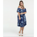 Damen Casual Off Shoulder Sleeve Plus Size Kleid