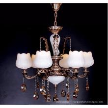 Lustre moderne en cristal blanc de bougie de style français d'alliage de zinc pour le restaurant d'hôtel à la maison