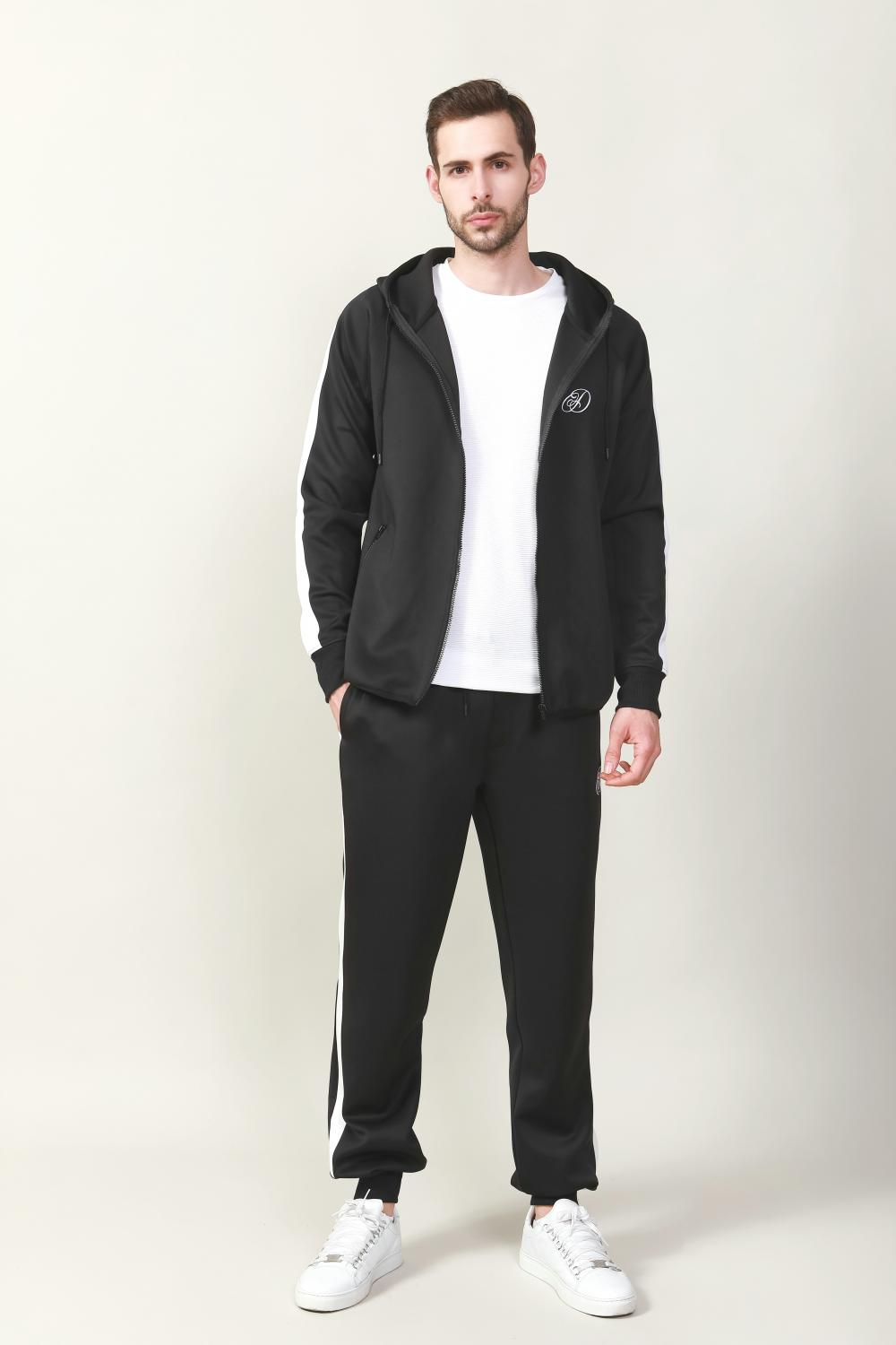 FULL ZIP HOODIE AND TRACK PANT WITH CONTRAST STRIPE DETAILS