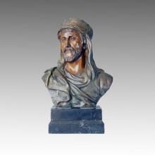 Busts Bronze Sculpture Arab Male Figure Craft Deco Brass Statue TPE-109