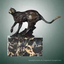Tier Bronze Skulptur Leopard Carving Deko Messing Statue Tpal-291