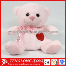 New design stuffed pink plush teddy bear for Valentines day