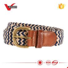 Woven Chevron Patterned Herringbone Braided Stretch belt