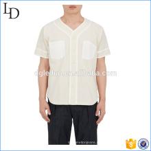 Lona De Algodão Botão-Frente Basebol t camisas simples homens equipe camiseta