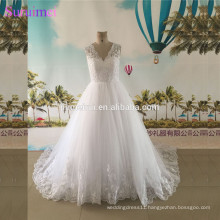 2017 New Design Lace Wedding Dress with Cap Sleeves V Neck High Quality Tulle Ball Gown Wedding Dresses