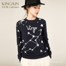 Alphabet Star Jacquard Knit, 100% Cashmere Sweater, Round Neck Basic Sweater For Girl